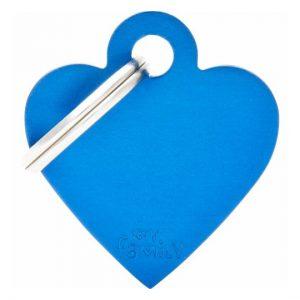 Id-bricka mörkblå hjärta med gravyr
