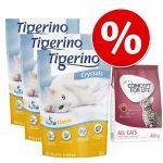 Prova nu! Tigerino Crystals kattsand 3 x 5 l & 400 g Concept for Life torrfoder till sparpris! - Sensitive Cats