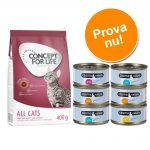 Provpack: 400 g Concept for Life + 6 x 70 g Cosma Nature - All Cats 10 + Cosma Nature