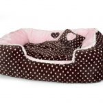Soft Velour Polka Dimple Bed - Pink - Large
