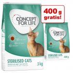 3 kg + 400 gram gratis! 3,4 kg Concept for Life kattfoder - Outdoor Cats