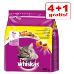 4 + 1 på köpet! 5 x 800 g Whiskas torrfoder - 1+ Nötkött