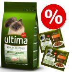 Blandpack: Ultima Cat torr- och våtfoder - 7,5 kg Sterilized Salmon & Barley + 24 x 85 g Sterilized Kyckling och lax