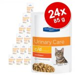 Ekonomipack: Hill's Prescription Diet Feline 24 x 85 g portionspåsar - 85 g c/d Urinary Stress Chicken i portionspåse