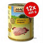 Ekonomipack: MAC's Cat kattfoder 12 x 400 g - Blandpack: Fjäderfä & tranbär + Anka, kalkon & kyckling