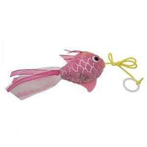 Kattleksak Guldfisk, fiskfjällsmönstrad med sidenband Rosa