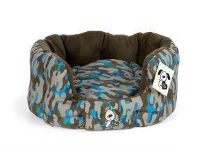 Blue Camo Oval Hundbädd