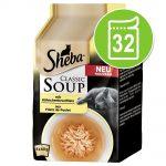 Ekonomipack: Sheba Classic Soup Pouch 32 x 40 g - Kyckling & tonfiskfilé