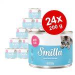 Ekonomipack: Smilla Kitten 24 x 200 g - Blandpack: Kyckling, Kalv och Hönshjärta