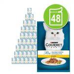 Blandat ekonomipack: Gourmet Perle 48 x 85 g - Delikata strimlor - fågel & kött