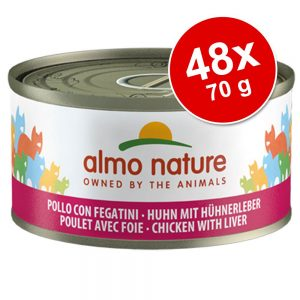Ekonomipack: Almo Nature 48 x 70 g - Kyckling & lever
