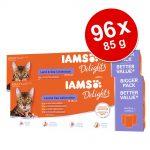 Ekonomipack: IAMS Adult Delights 96 x 85 g - Land & Sea mix i gelé