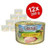 Ekonomipack: MAC's Cat kattfoder 12 x 200 g - Blandpack: Lax & kyckling + Anka, kalkon & kyckling