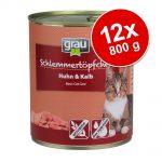 Grau Gourmet spannmålsfritt 12 x 800 g - 6 x Fågel & havsfisk + 6 x Kalkon & lamm