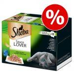 Jumbo ekonomipack: Sheba 96 x 85 g portionsform i blandpack - Blandpack 4 sorter