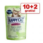 10 + 2 på köpet! 12 x 85 g Happy Cat Pouch - All Meat Kalkon & sej