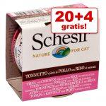 20 + 4 på köpet! 24 x 85 g Schesir Natural med ris - Kyckling & nötkött med ris