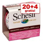 20 + 4 på köpet! 24 x 85 g Schesir Natural med ris - Tonfisk & kyckling med ris