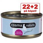 22+2 på köpet! 24 x 70 g Cosma Nature kattmat - Kycklingfilé