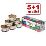 5 + 1 på köpet! 6 burkar Schesir våtfoder i blandpack - I buljong 6 x 70 g - 3 sorter