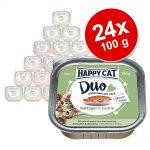 Ekonomipack: Happy Cat Duo - Bitar med paté 24 x 100 - Fjäderfä & lamm