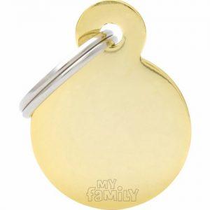 Id-bricka cirkel blank guld med gravyr