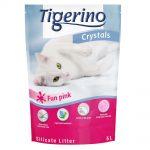 Tigerino Crystals Fun - färgglatt kattströ - Ekonomipack: Rosa 3 x 5 l