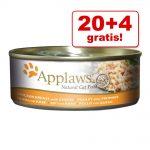 20 + 4 på köpet! 24 x 156 g Applaws kattfoder - Kycklingbröst & anka i buljong