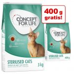 3 kg + 400 g på köpet! 3,4 kg Concept for Life kattfoder - All Cats