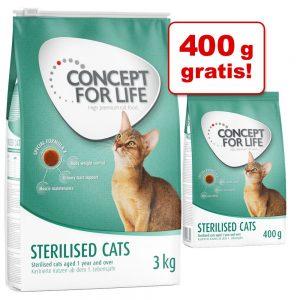 3 kg + 400 g på köpet! 3,4 kg Concept for Life kattfoder - Sensitive Cats