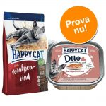Blandpack: Happy Cat Adult 1,4 kg + 12 x 100 g Happy Cat Duo - Adult Beef + Duo Fjäderfä & nötkött