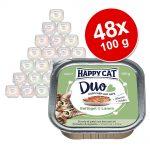 Ekonomipack: Happy Cat Duo - Bitar med paté 48 x 100 g - Fjäderfä & lamm
