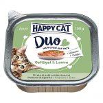Happy Cat Duo - Bitar med paté 12 x 100 g - Fjäderfä & lax