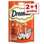 2 + 1 på köpet! 3 x 60 g Dreamies Cat Treats godis - Lax 3 x 60 g