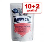 10 + 2 på köpet! 12 x 85 g Happy Cat Pouch Mix All Meat