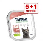 5 + 1 på köpet! 6 x 100 g Yarrah Organic Paté / Chunks - Paté Kyckling & kalkon med aloe vera