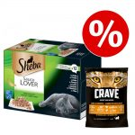 48 x 85 g Sheba + 750 g Crave Turkey & Chicken torrfoder till kanonpris! - Sauce Lover + Adult Turkey & Chicken