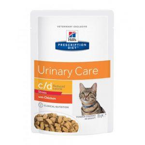 Prescription Diet Feline C/D Urinay Stress Reduced Calorie Chicken Portionspåsar (12x85g)
