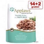 14 + 2 på köpet! 16 x 70 g Applaws Pouch in Jelly kattmat - Tonfisk med lax