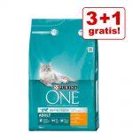 3 + 1 på köpet! 4 x 3 kg Purina ONE kattfoder - Sensitive