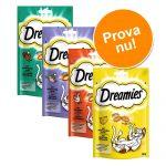 Blandat provpack: Dreamies Cat Treats 4 x 60 g - Ost, Kalkon, Lax och Nötkött
