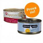 Blandat sparpack: 24 x 70 g Applaws våtfoder i buljong + 6 x 70 g Cosma Nature! - Kycklingbröst + Cosma Nature provpack