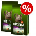 Ekonomipack: 2 / 3 påsar Ultima Cat Adult till lågt pris! - Sterilized Hairball (2 x 3 kg)