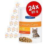 Ekonomipack: Hill's Prescription Diet Feline 24 x 85 g portionspåsar - 85 g c/d Urinary Stress Reduced Calorie Chicken
