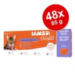 Ekonomipack: IAMS Delights Adult 48 x 85 g - Land & Sea mix i gelé