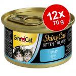 GimCat ShinyCat Jelly Kitten 12 x 70 g - Tonfisk