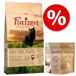 Provpack: 400 g Purizon torrfoder för katt + Purizon Snack - Chicken & Fish + Snack