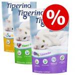 Provpack: Tigerino Crystals kattsand 6 x 5 l 4 sorter - Classic, Flower Power, Lavender & Aloe Vera