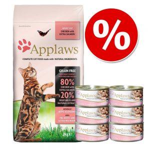 Applaws provpack: Torr- och våtfoder - 2 kg Adult Chicken & Duck + 6 x 156 g Kycklingbröst