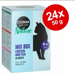 Ekonomipack: 24 x 50 g Cosma Nature i portionspåse - Kyckling & kycklingskinka